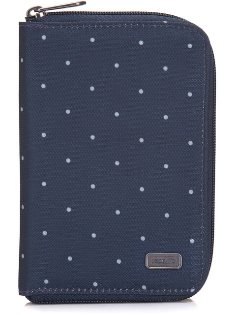 Pacsafe Daysafe Passport Wallet Navy Polka Dot